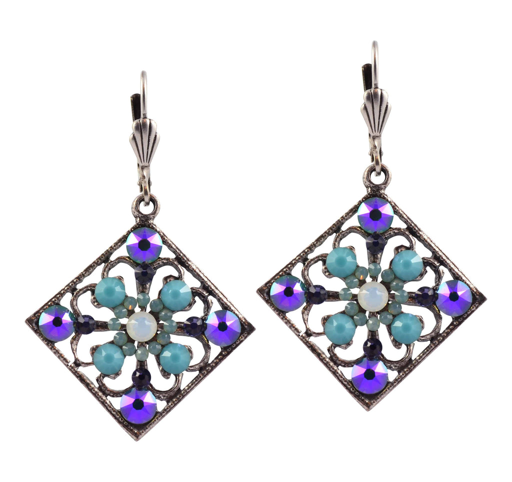 Anne Koplik Square Earrings, Silver Plated with Green and White Swarovski Crystal ES3084WOP