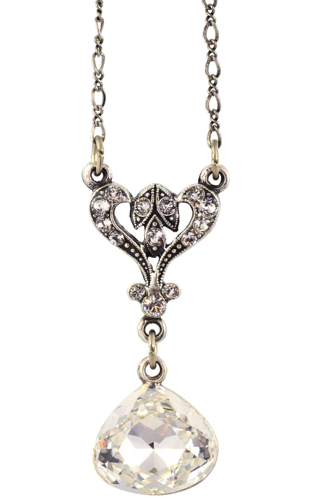 Anne Koplik Wide Drop Pendant Necklace, Silver Plated with Swarovski Crystals, 20 NS7955CRY