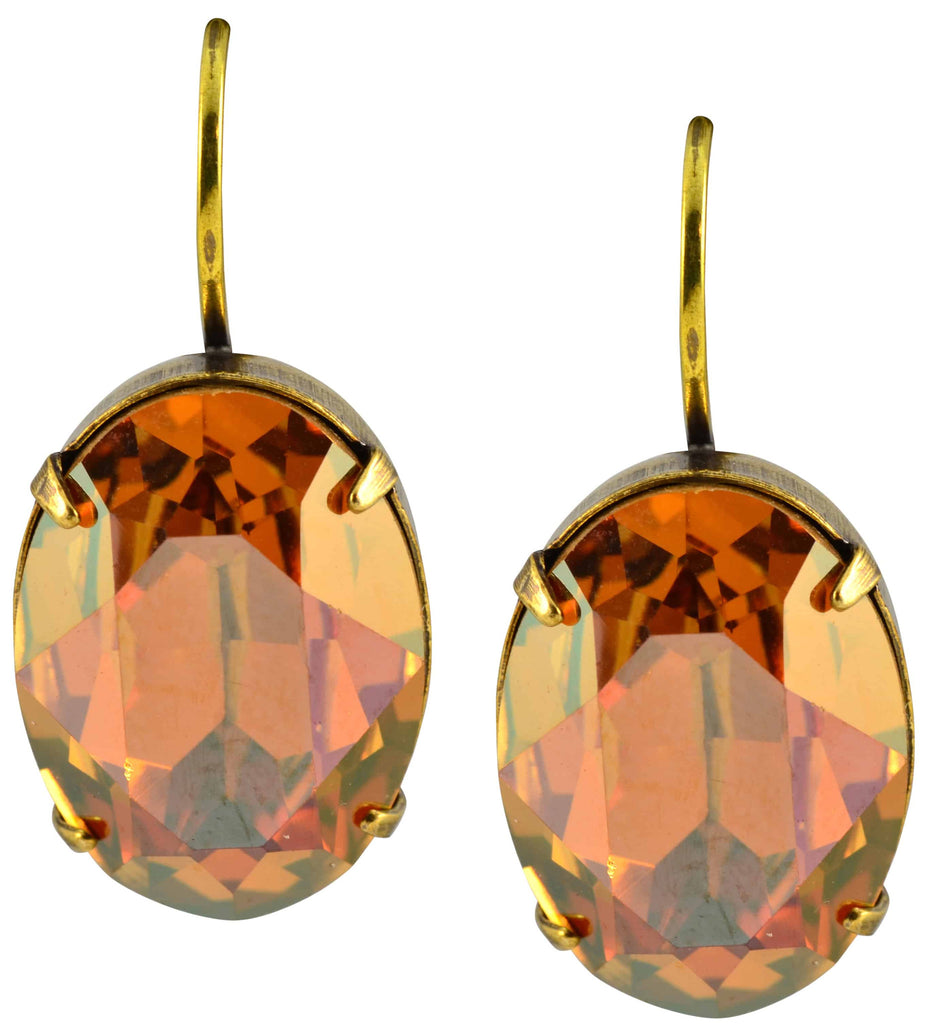 Antique Gold Plated Oval Drop Earrings with Swarovski Crystal