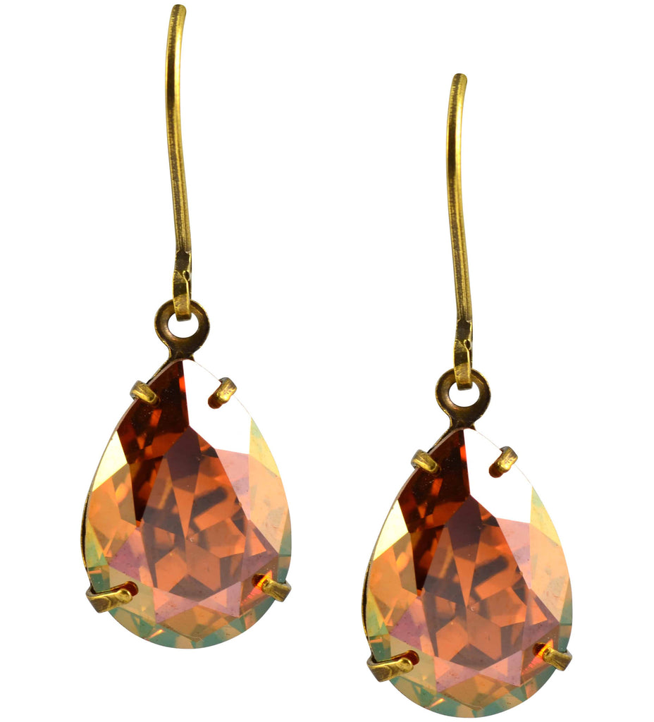Antique Gold Plated Teardrop Dangle Earrings with Swarovski Crystal