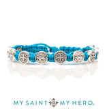 My Saint My Hero Handwoven Benedictine Blessing Bracelet, Adjustable (Silver Dipped Medals on Turquoise)