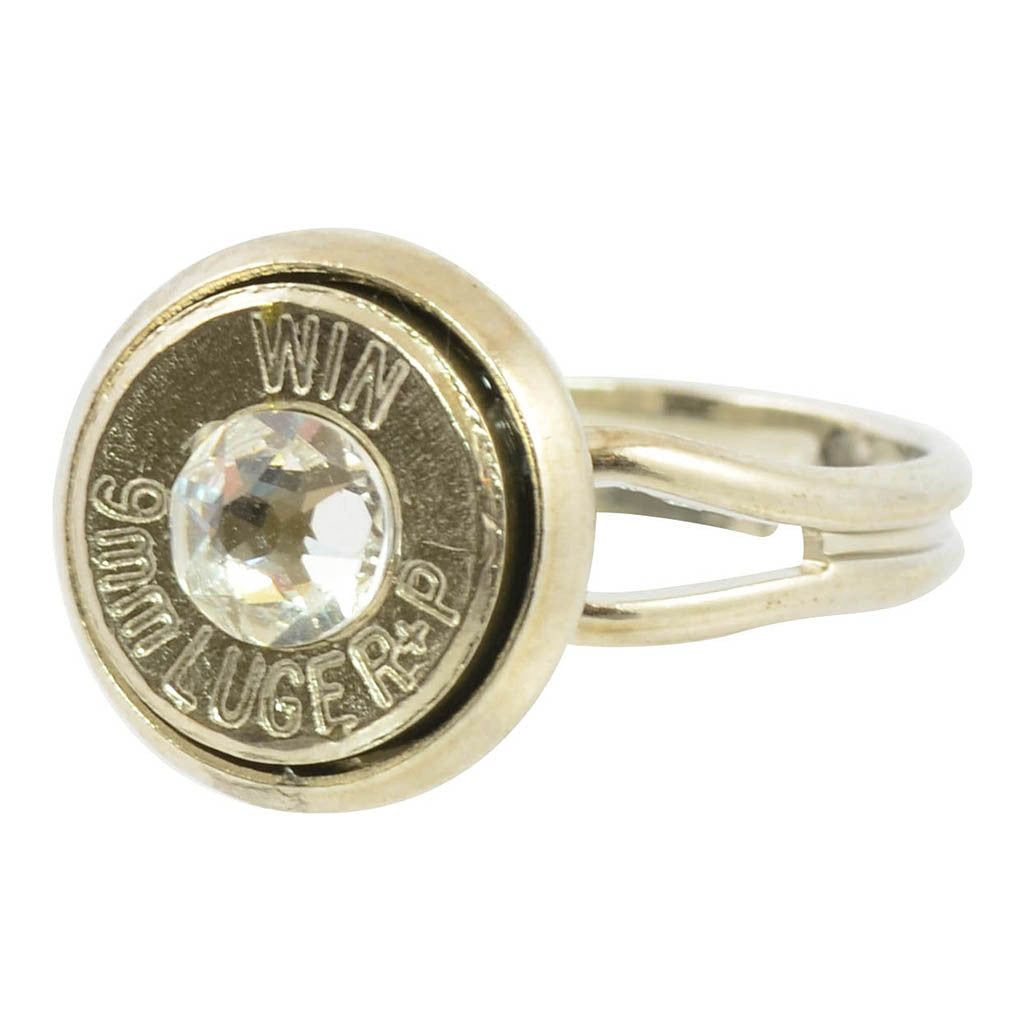 Bullet Ring, 9mm Caliber Bullet Adjustable Ring with Clear Accent