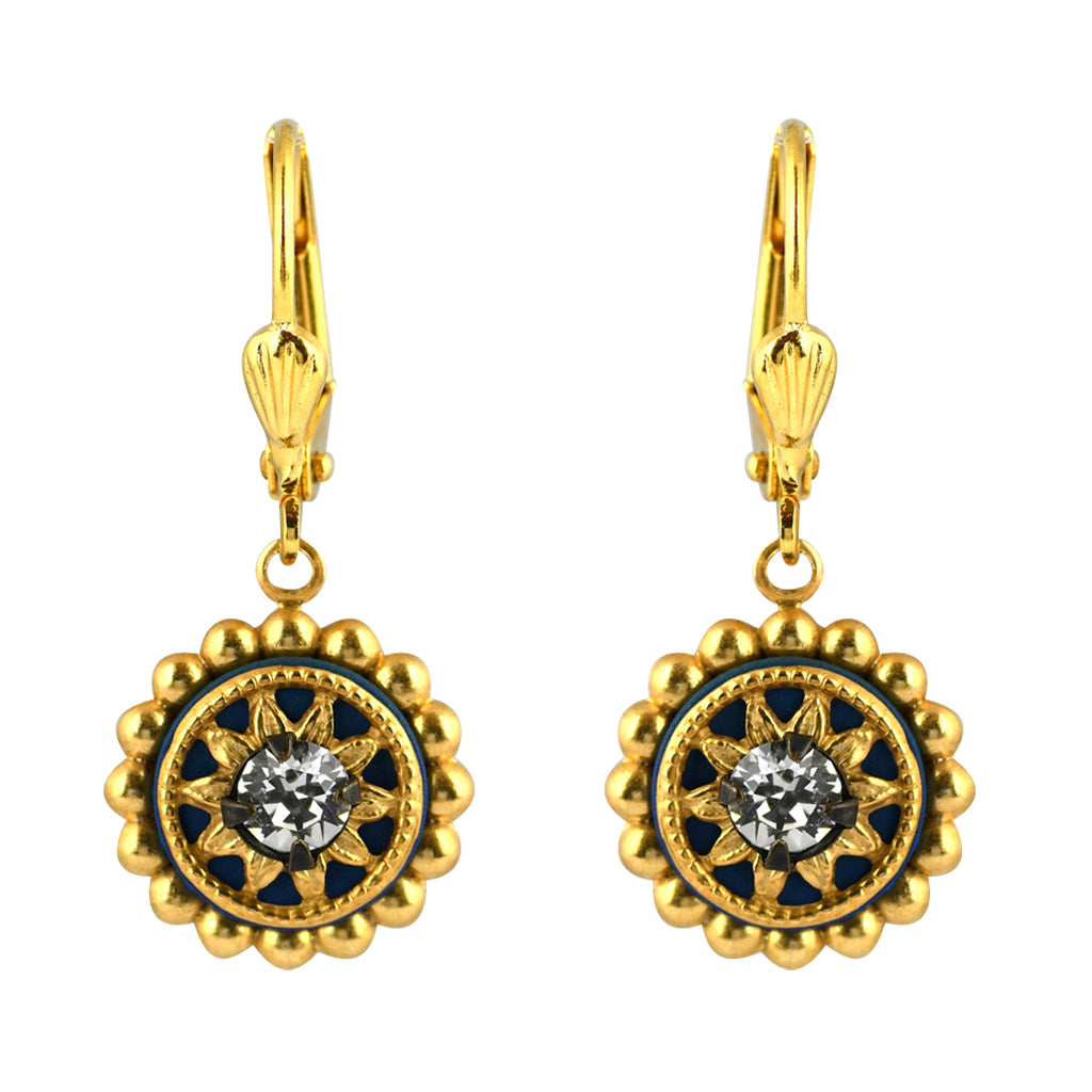 Clara Beau Jewelry Crystal Round Earrings, Gold Plated Clear Dangle