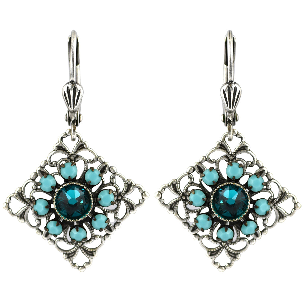 Clara Beau Jewelry Crystal Square Earrings, Silver Plated Green Dangle