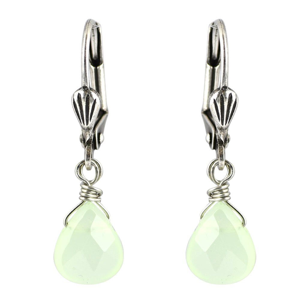 Clara Beau Jewelry Crystal Drop Earrings, Silver Plated Green Dangle