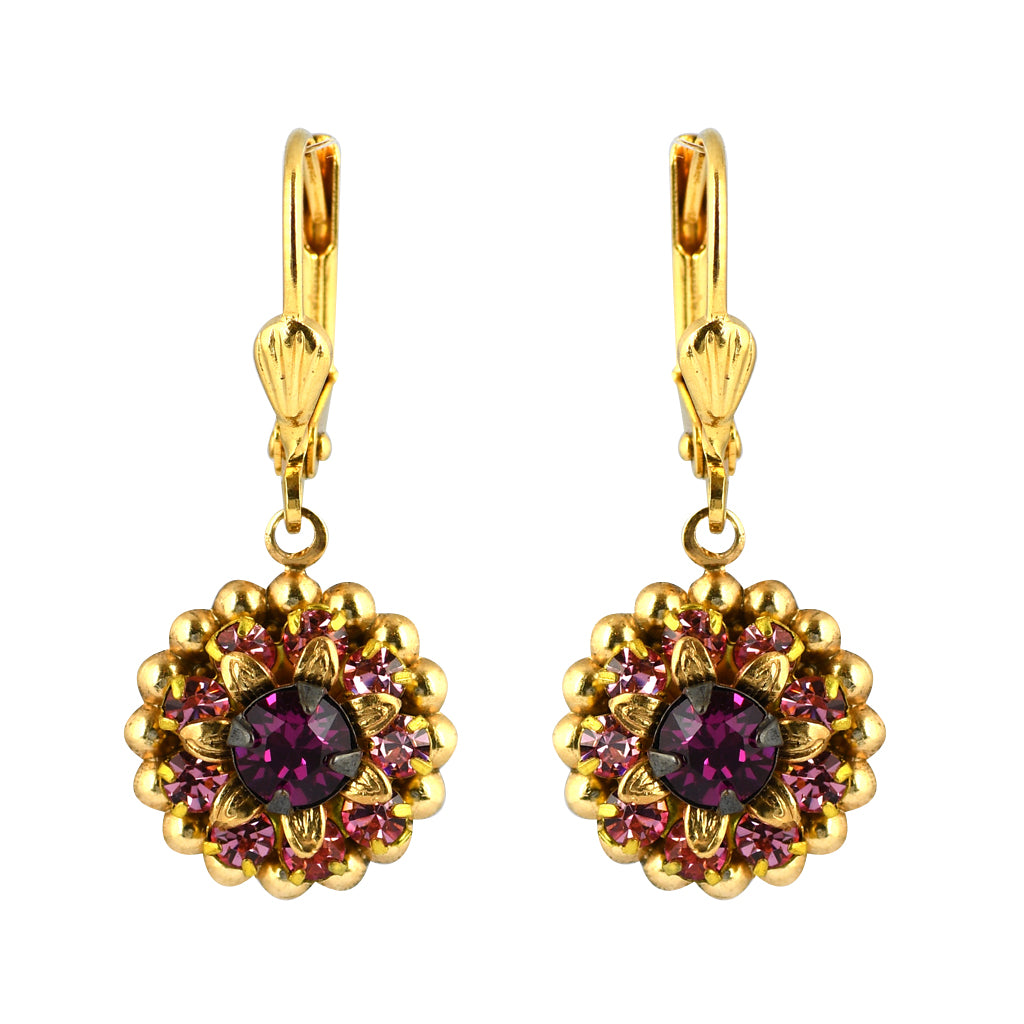 Clara Beau Jewelry Crystal Round Earrings, Gold Plated Red Dangle