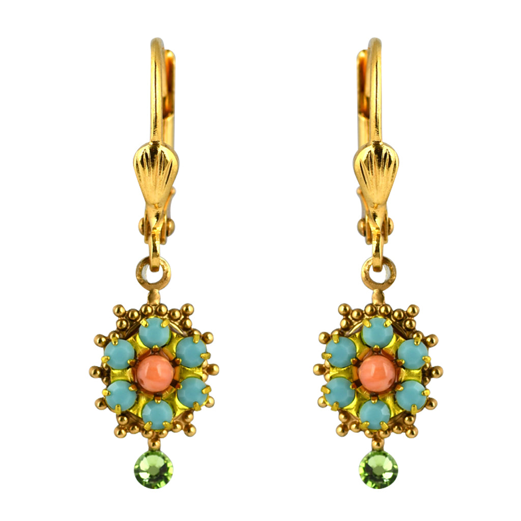 Clara Beau Jewelry Crystal Snowflake Earrings, Gold Plated Green Dangle