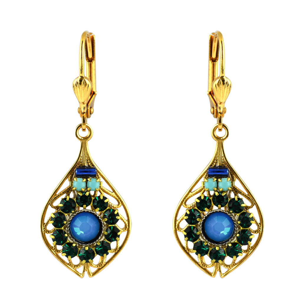 Clara Beau Jewelry Crystal Ornament Earrings, Gold Plated Blue Dangle