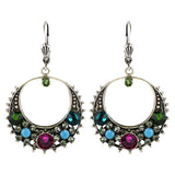 Clara Beau Jewelry Crystal Crescent Earrings, Silver Plated Multicolor Dangle