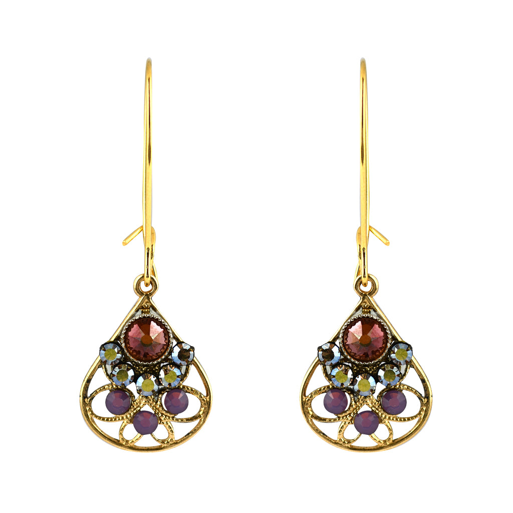 Clara Beau Jewelry Crystal Drop Earrings, Gold Plated Goldenshade Dangle