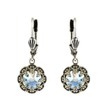 Clara Beau Jewelry Crystal Flower Earrings, Silver Plated Moonlight Dangle