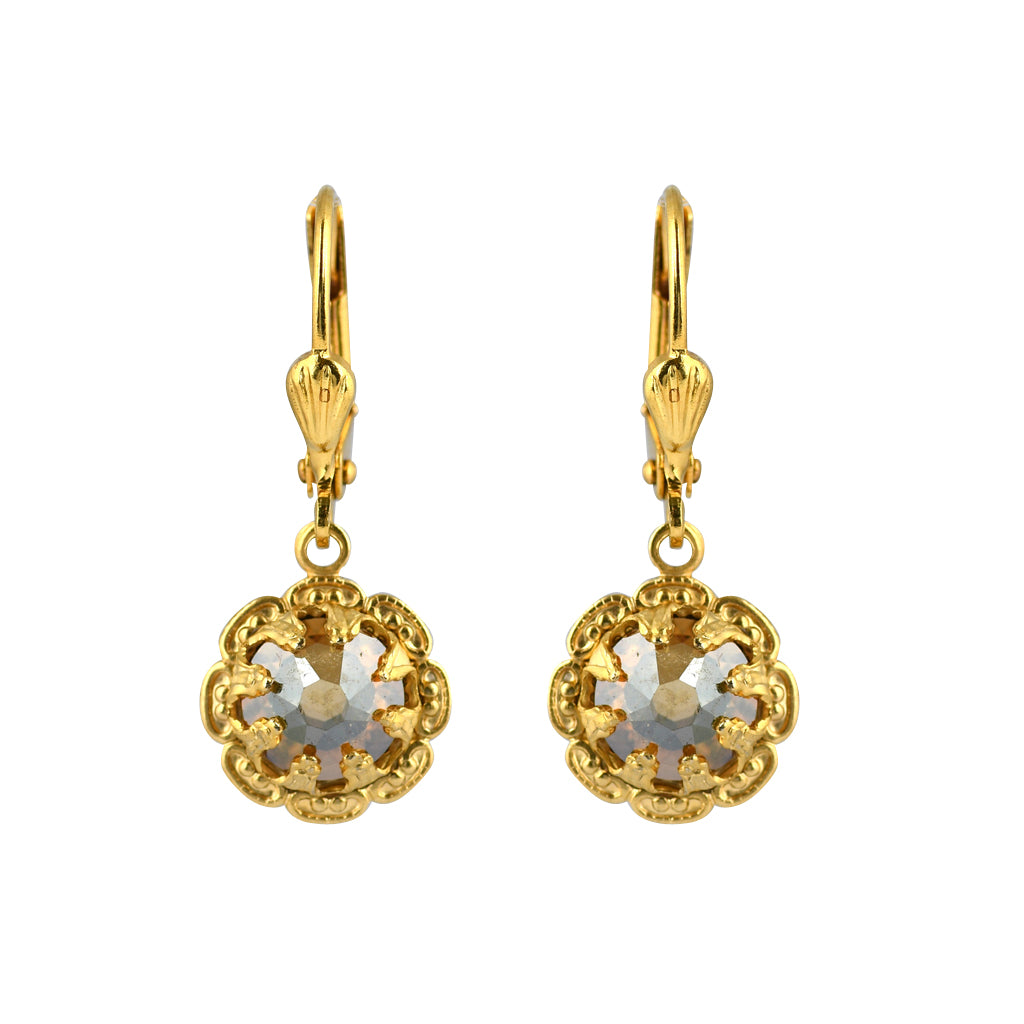 Clara Beau Jewelry Crystal Flower Earrings, Gold Plated Goldenshade Dangle