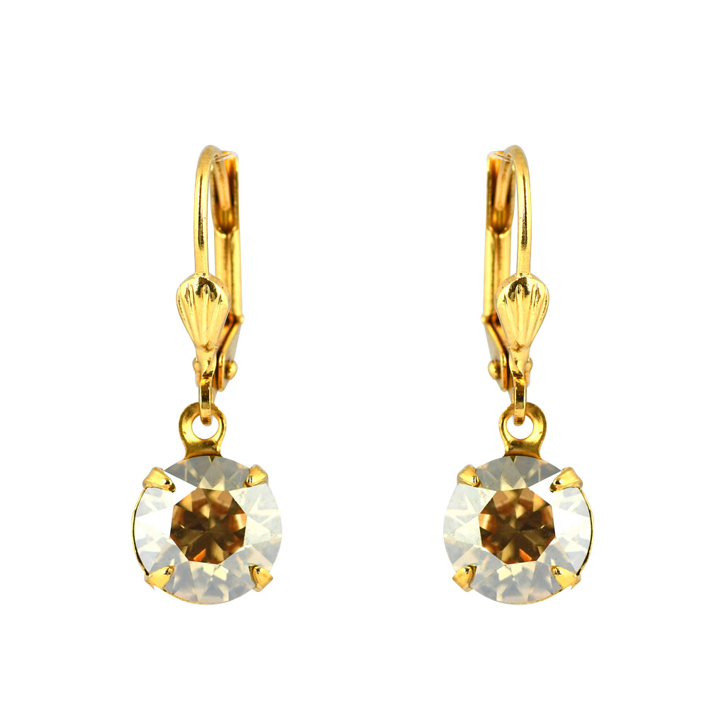 Clara Beau Jewelry Crystal Round Earrings, Gold Plated Goldenshade Dangle