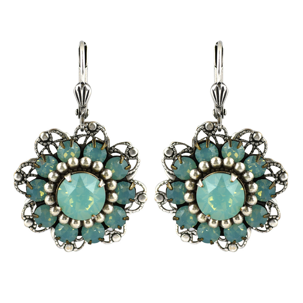 Clara Beau Jewelry Crystal Flower Earrings, Silver Plated Green Dangle