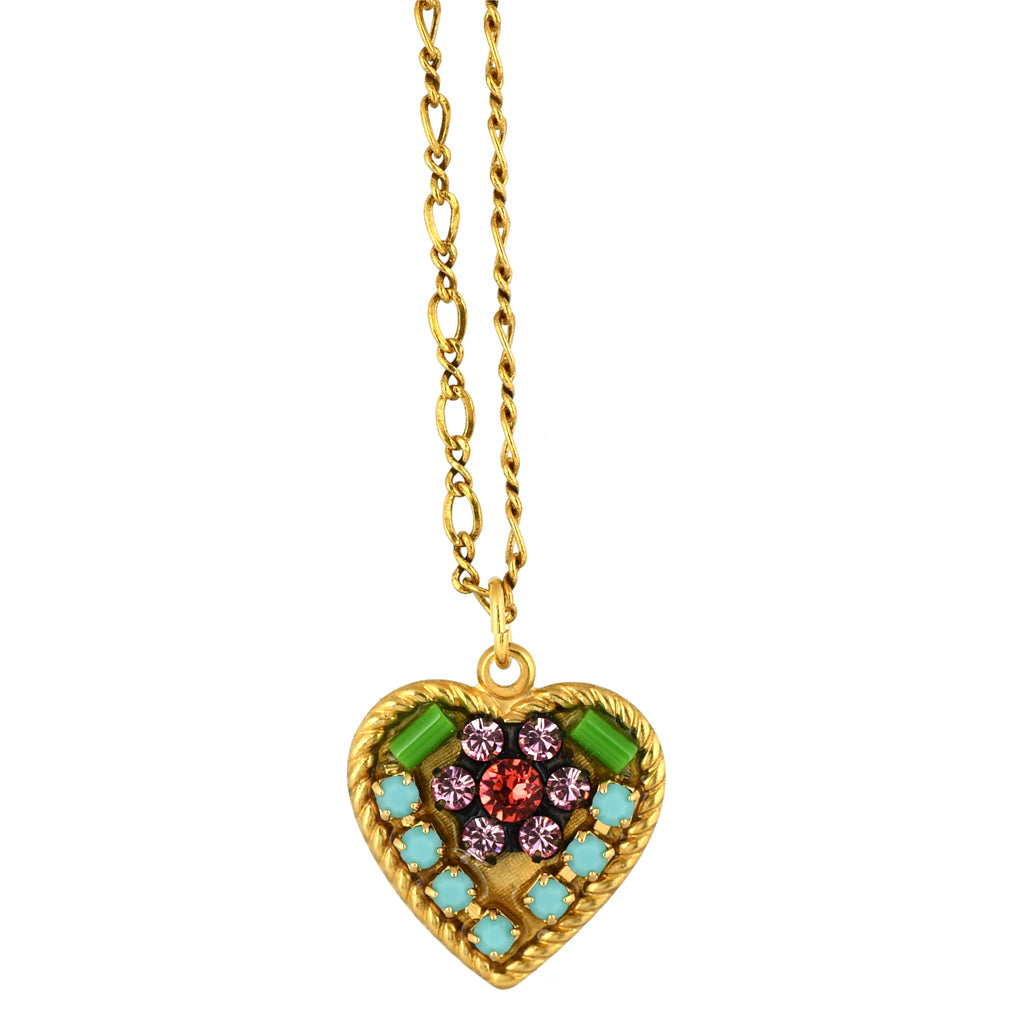 Clara Beau Jewelry Crystal Heart Necklace, Gold Plated Pendant