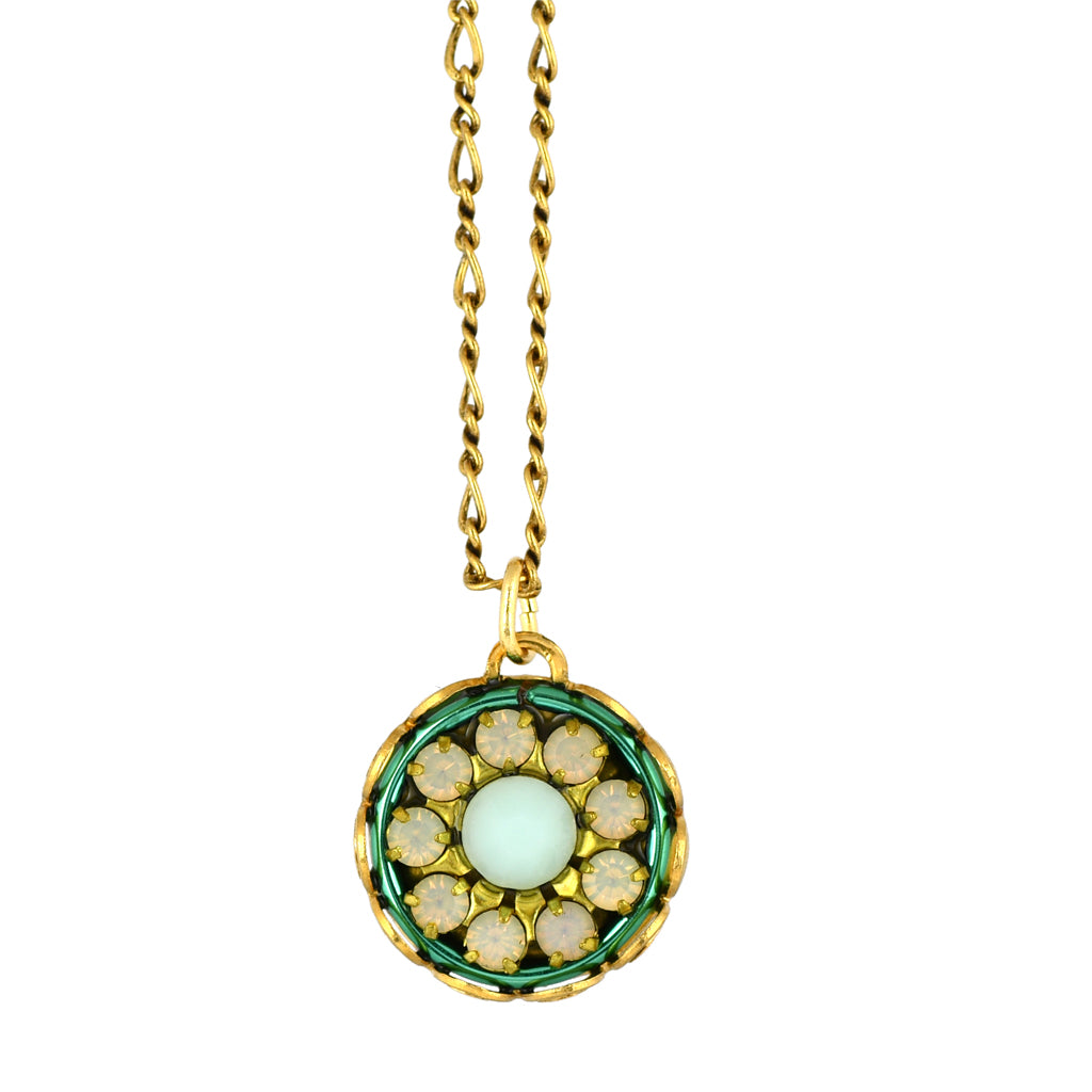 Clara Beau Jewelry Round Flower Necklace, Gold Plated Pendant