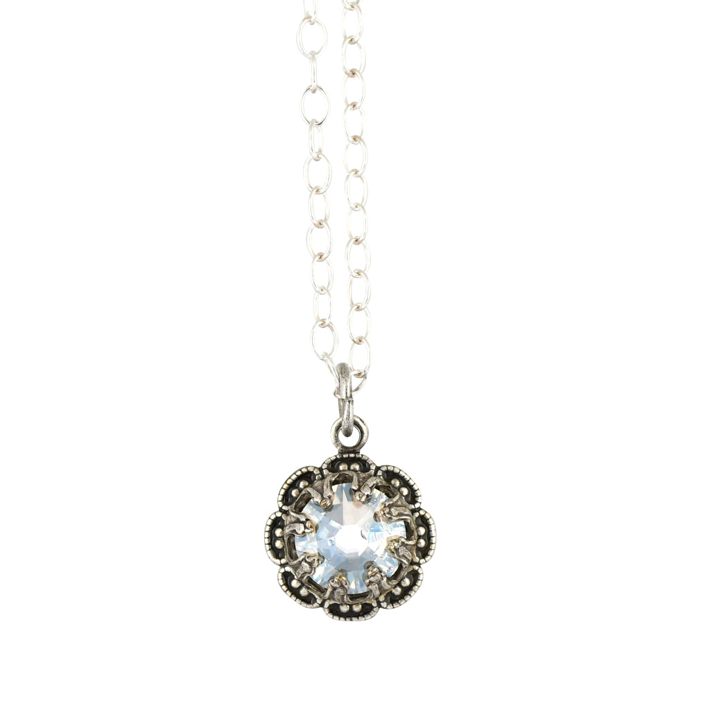 Clara Beau Jewelry Crystal Flower Necklace, Silver Plated Pendant