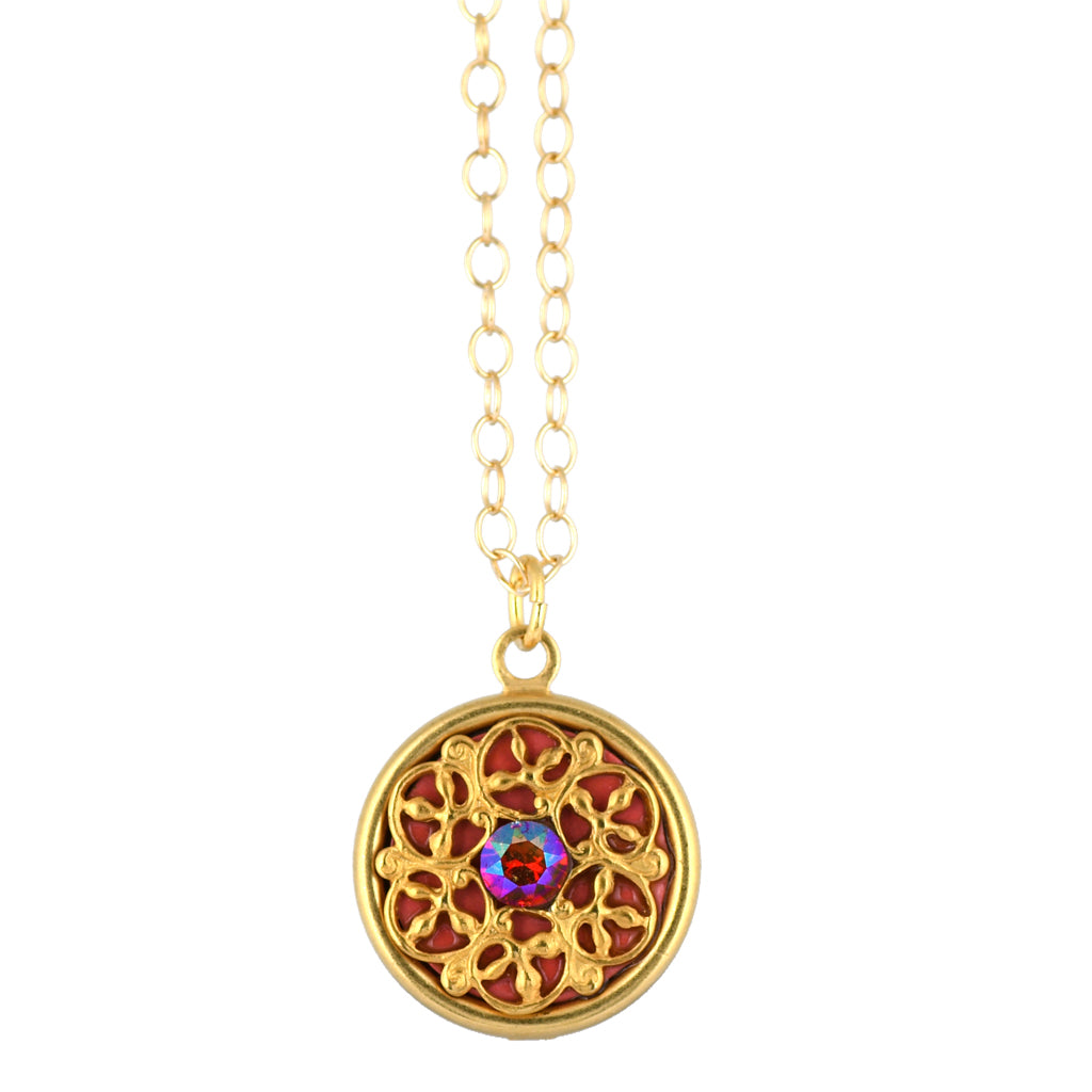 Clara Beau Jewelry Round Crystal Necklace, Gold Plated Pendant