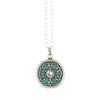 Clara Beau Jewelry Round Crystal Necklace, Silver Plated Pendant