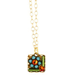 Clara Beau Jewelry Crystal Square Necklace, Gold Plated Multicolor Pendant