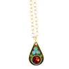 Clara Beau Jewelry Crystal Necklace, Gold Plated Multicolor Pendant