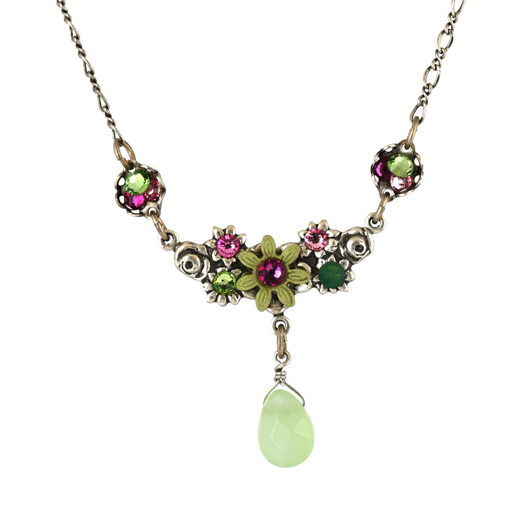 Clara Beau Jewelry Crystal Flowers Necklace, Silver Plated Multicolor Pendant