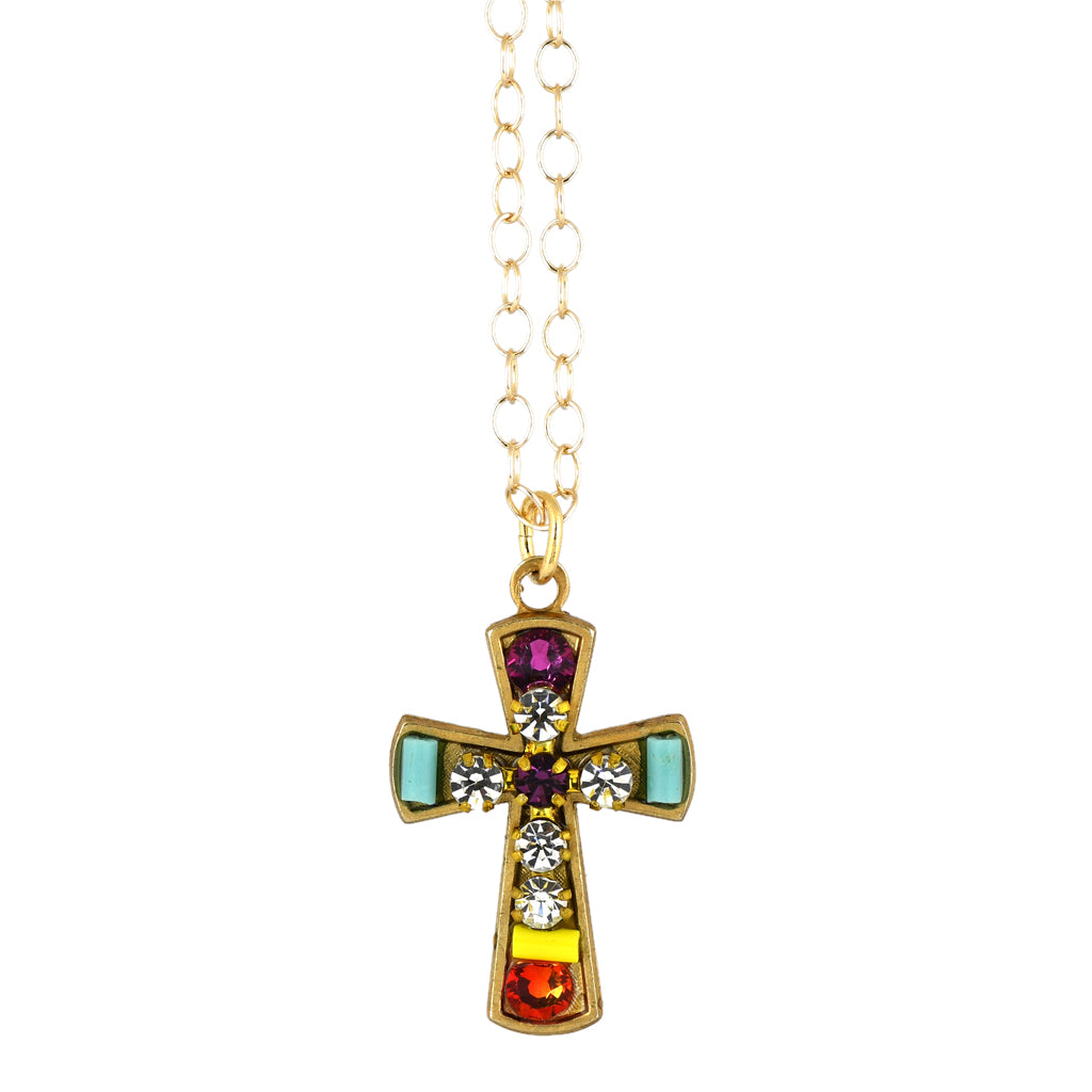 Clara Beau Jewelry Crystal Cross Necklace, Gold Plated Pendant