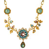 Clara Beau Jewelry Crystal Branches Necklace, Gold Plated Teal