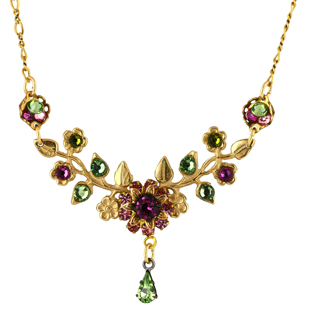 Clara Beau Jewelry Crystal Branches Necklace, Gold Plated Pendant