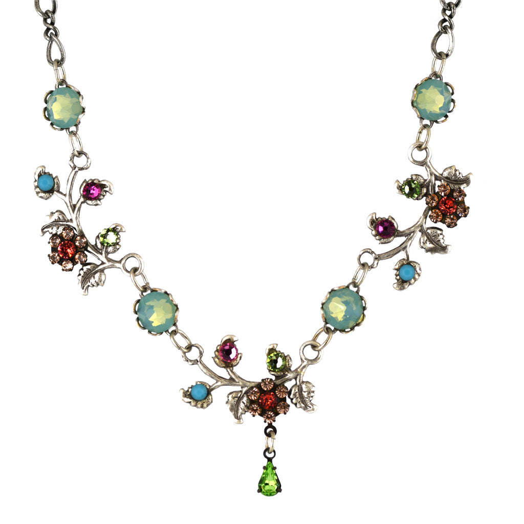 Clara Beau Jewelry Crystal Nature Branch Necklace, Silver Plated Multicolor