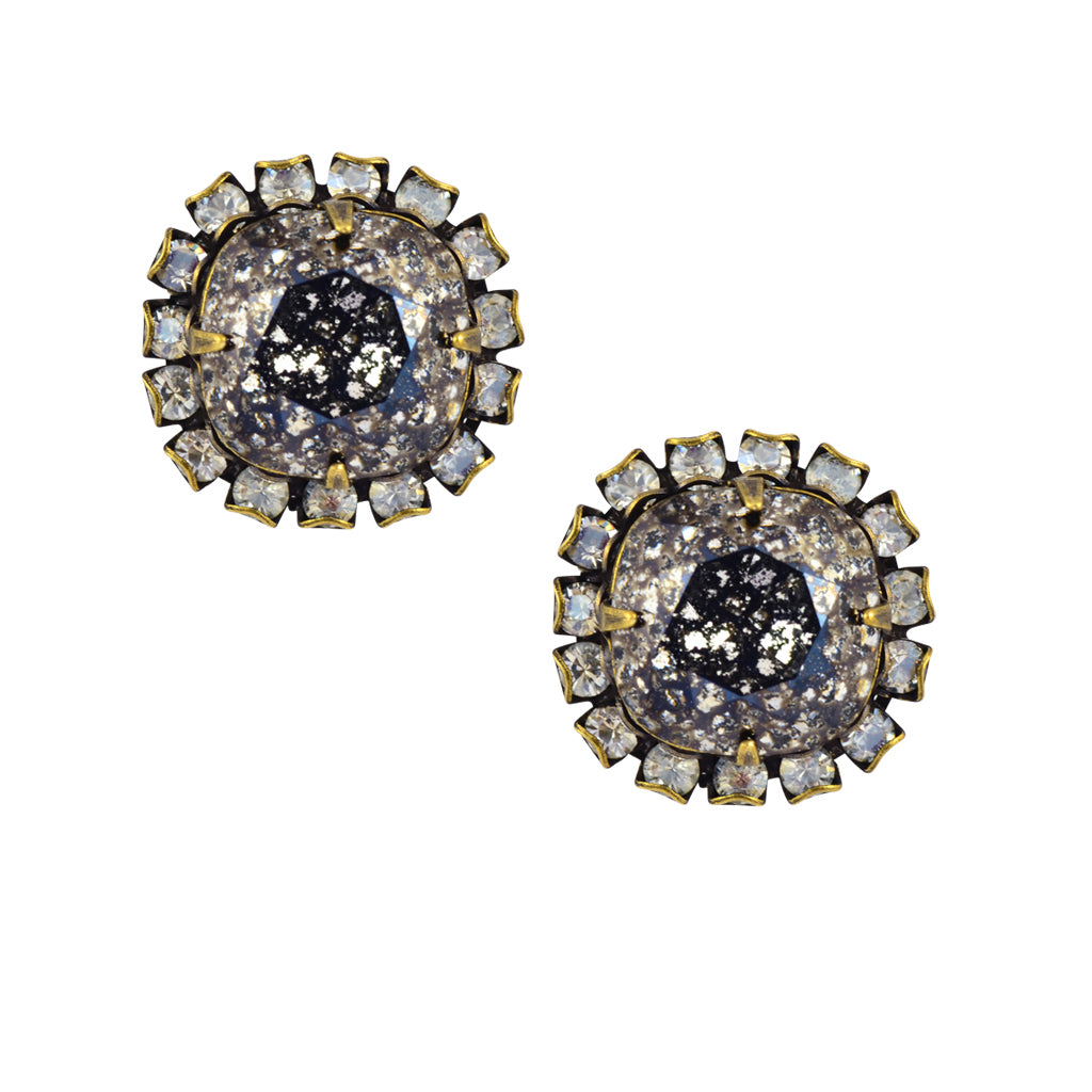 Caroline Heath Round 2 Layer Large Square Cushion Crystal Stud Earrings, Brass Posts