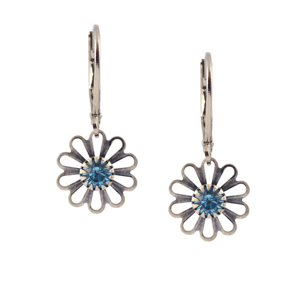 Caroline Heath Small Flower Earrings, Antique Silver Plated Leverback Drop with Aqua Crystal