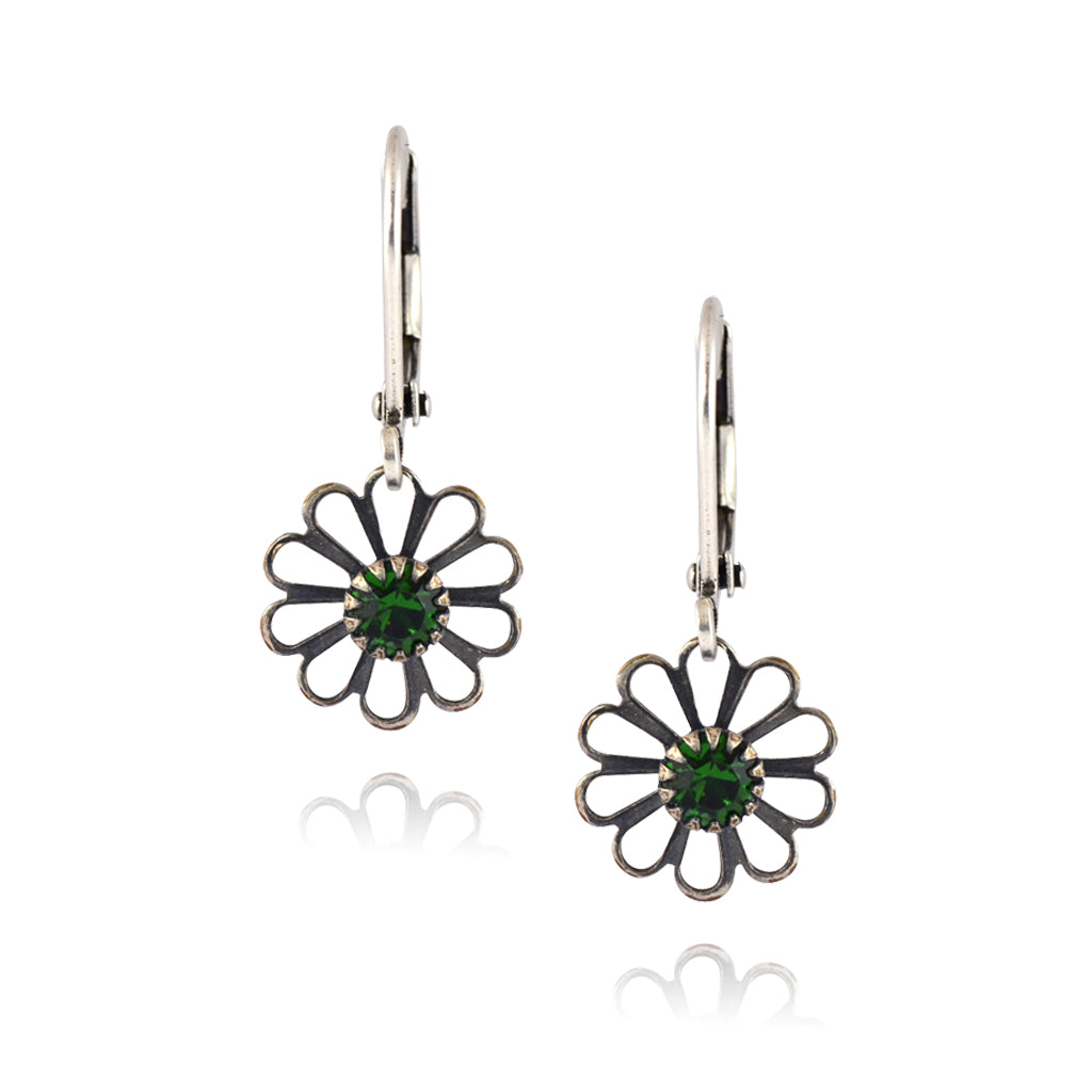Caroline Heath Small Flower Earrings, Antique Silver Plated Leverback Drop with Green Crystal