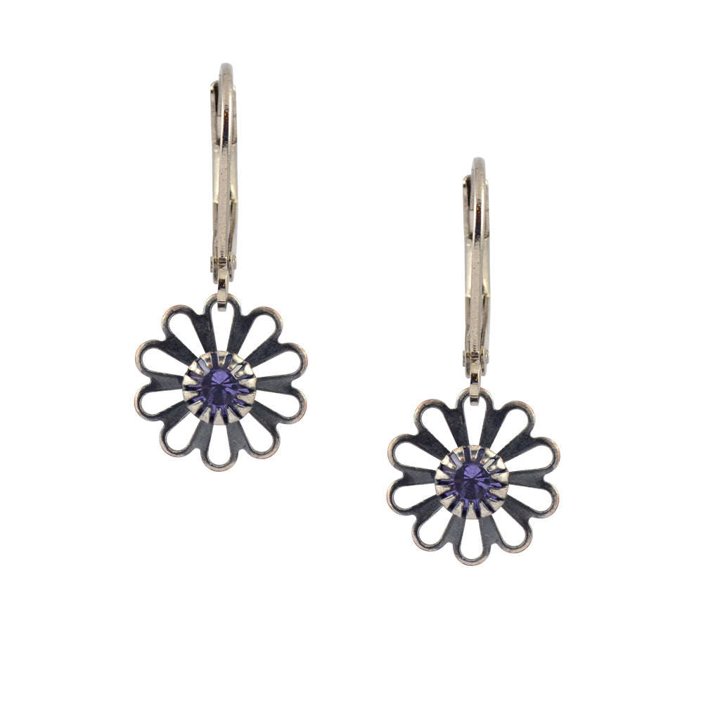 Caroline Heath Small Flower Earrings, Antique Silver Plated Leverback Drop with Purple Crystal