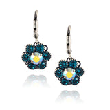 Caroline Heath Small Flower Earrings, Antique Silver Plated Leverback Drop with Blue/AB Crystal