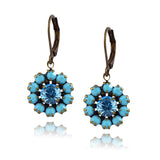 Caroline Heath Crystal Flower Earrings, Silver Plated Leverback Drop in Teal and Blue