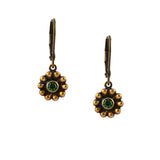 Caroline Heath Small Flower Earrings, Antique Brass Leverback Drop with Green Crystal