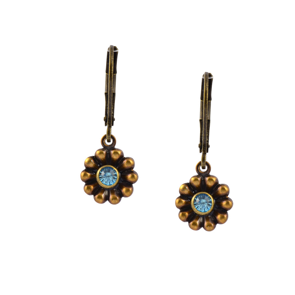 Caroline Heath Small Flower Earrings, Antique Brass Leverback Drop with Teal Crystal