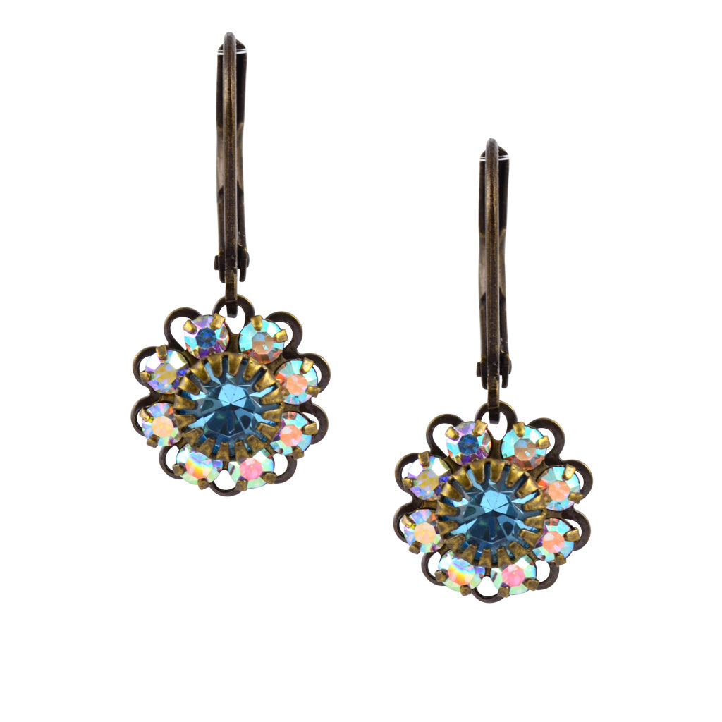 Caroline Heath Flower Earrings, Antique Brass Leverback Drop with AB and Aqua Crystal