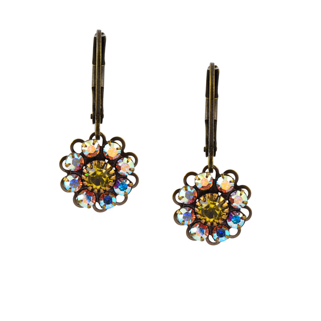 Caroline Heath Flower Earrings, Antique Brass Leverback Drop with AB and Yellow Crystal
