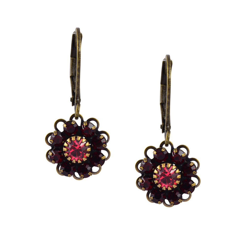 Caroline Heath Flower Earrings, Antique Brass Leverback Drop with Red and Pink Crystal