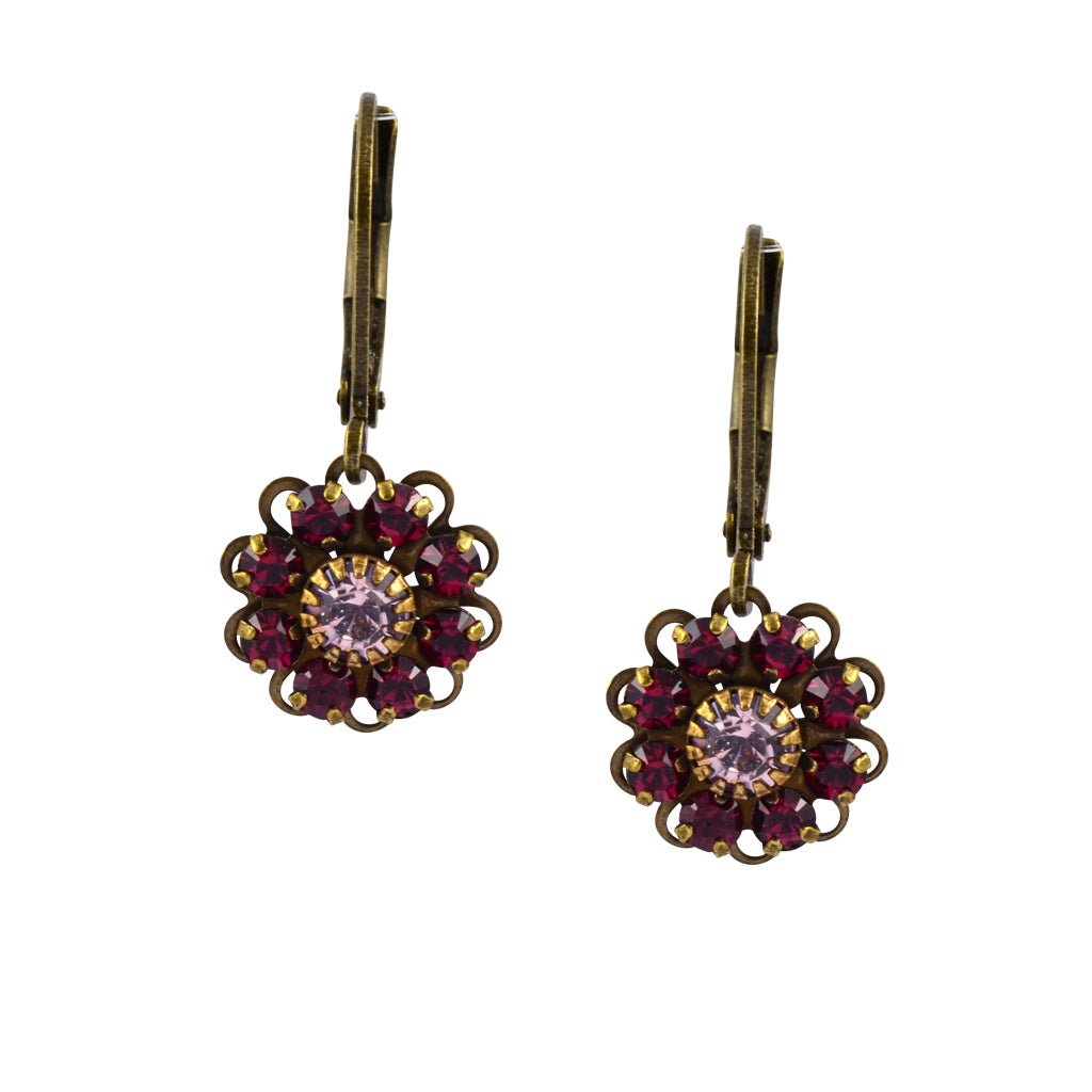 Caroline Heath Flower Earrings, Antique Brass Leverback Drop with Red and Purple Crystal