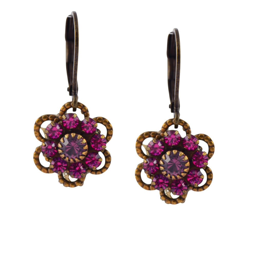 Caroline Heath Flower Earrings, Antique Brass Leverback Drop with Pink and Purple Crystal