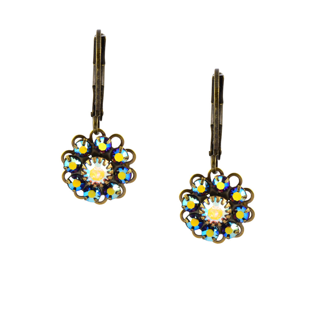 Caroline Heath Flower Earrings, Antique Brass Leverback Drop with Green and AB Crystal