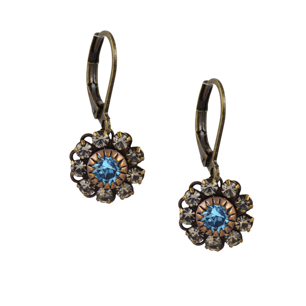 Caroline Heath Flower Earrings, Antique Brass Leverback Drop with Gray and Aqua Crystal