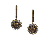 Caroline Heath Flower Earrings, Antique Brass Leverback Drop with Gray Crystal