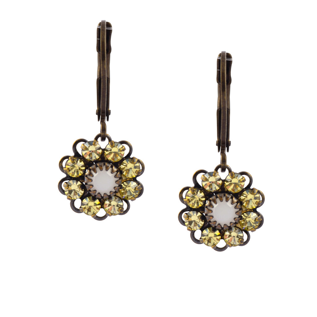 Caroline Heath Flower Earrings, Antique Brass Leverback Drop with Yellow and White Crystal