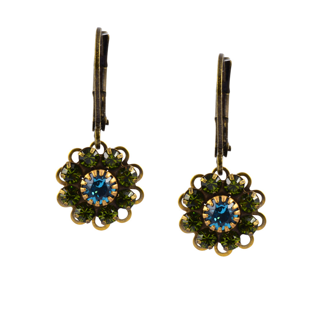 Caroline Heath Flower Earrings, Antique Brass Leverback Drop with Green and Blue Crystal