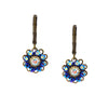 Caroline Heath Flower Earrings, Antique Brass Leverback Drop with AB Crystal