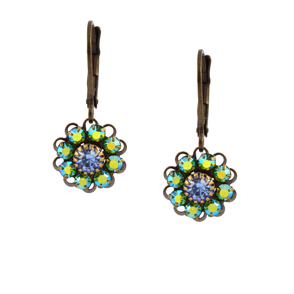 Caroline Heath Flower Earrings, Antique Brass Leverback Drop with AB and Blue Crystal